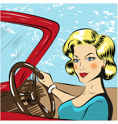 Pop art of woman driving red vector