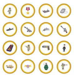 military and war cartoon icon circle vector image