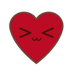 Kawaii red heart love romance feeeling symbol vector