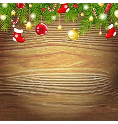 Xmas Wood Background With Xmas Toys vector image