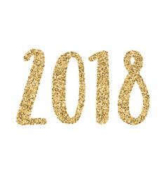 2018 year gold glitter calligraphy vector image vector image