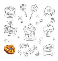 Sweets and cakes icons vector
