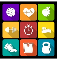 Fitness flat icons vector