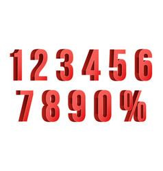 3d red discount numbers percent numbers vector image vector image