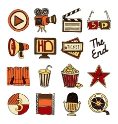 Cinema vintage icons set color vector