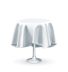 Round table with white tablecloth vector