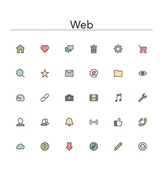 Web colored line icons vector