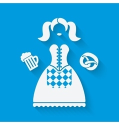 Girl in national dress with beer mug and pretzel vector