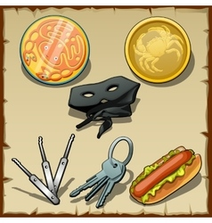 Set of masks medallions and other items vector