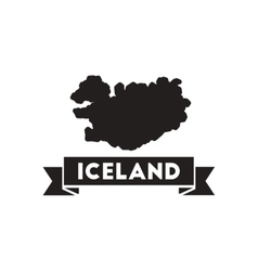 Flat icon in black and white iceland map vector