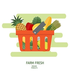 Shopping basket in flat style vector