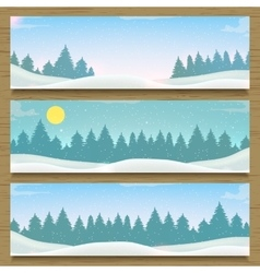 Three winter landscape banners winter backround vector