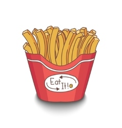 Cute hand-drawn cartoon style fries with shadow on vector