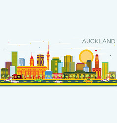 Auckland skyline with color buildings and blue sky vector