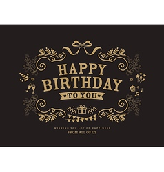 Birthday card design vintage style template vector image vector image