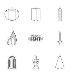 candle forms icons set outline style vector image vector image