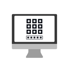 Computer code security system icon graphic vector