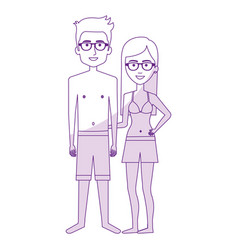 couple in swimsuit character vector image