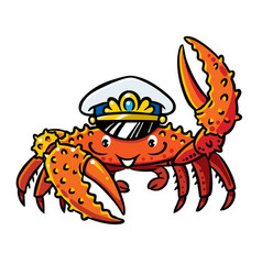 Crab in marine captain cap vector
