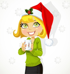Cute girl in Santa hat hold cup of hot drink vector image vector image