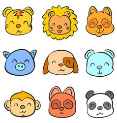 Doodle of animal head cute funny collection vector