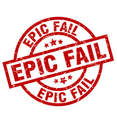 Epic fail round red grunge stamp vector