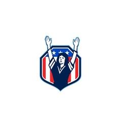 Female american football fan shield shield retro vector
