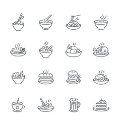 food dishes icon set isolated on white background vector image vector image