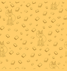 Fun seamless pattern with cartoon books and vector
