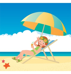 Girl sunbathes lying on a sun lounger on the beach vector image