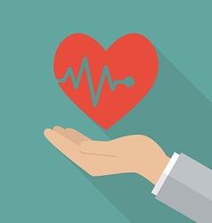 Hand holding heartbeat vector image vector image