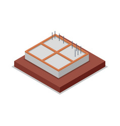 House foundation pouring isometric 3d icon vector