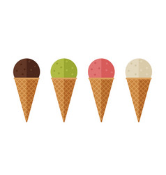 Ice cream flat icons vector