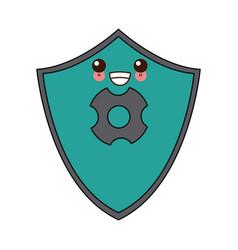 Kawaii shield protection healthcare cartoon vector