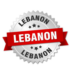 Lebanon round silver badge with red ribbon vector