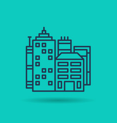 linear icon of city center - buildings and houses vector image