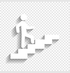 man on stairs going up white icon with vector image vector image