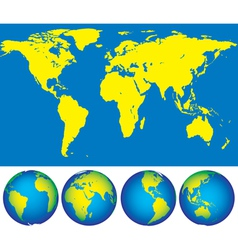 Map and globes vector image