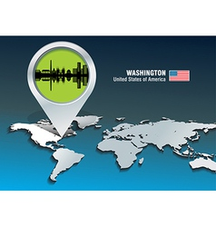 Map pin with Washington skyline vector image