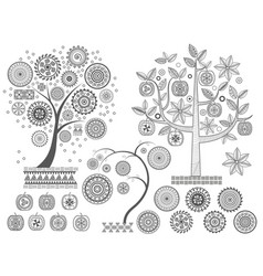 ornament treesthe leaves and ornamental circles on vector image