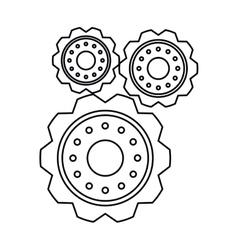 Pictogram three gear wheel engine cog icon vector