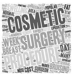 Popular cosmetic surgery procedures text vector