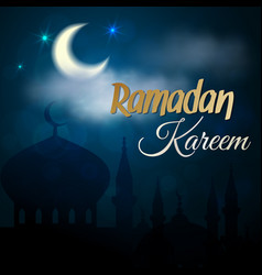 Ramadan kareem night islamic mosque vector