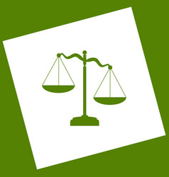 Scales of justice sign white icon vector