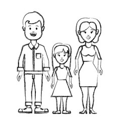 silhouette couple with their daughter icon vector image vector image
