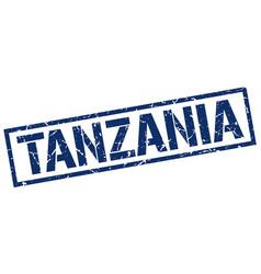 Tanzania blue square stamp vector