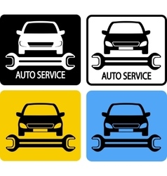Auto service icons set with car and spanner vector