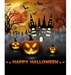 Halloween with castle tomb and bats vector