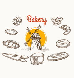 Vintage traditional bakery products sketch vector