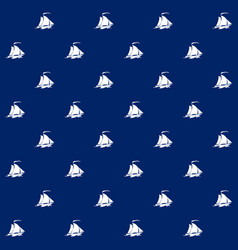 Sailboat on blue background seamless pattern vector